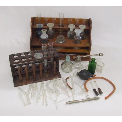 992 - Chemistry Glassware incl. test tubes, bottles, flask, funnel, distillation apparatus, etc. & 2 woode...