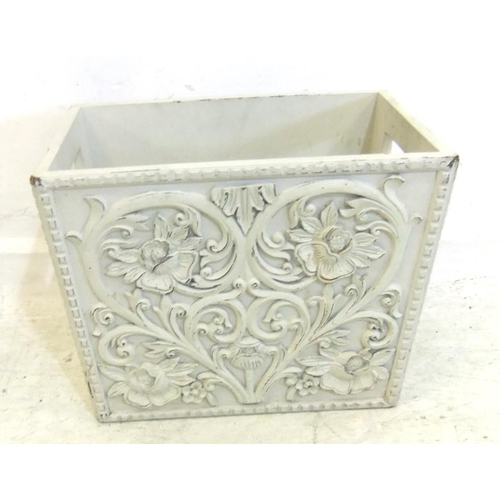 121 - Cream Painted Carved Wooden Magazine Rack (A10)...