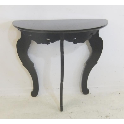 135 - Demi Lune Hall Table on 3 flat section cabriole style supports (A13)...