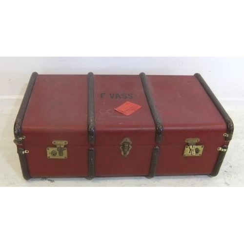 140 - Red Travel Trunk with wooden hoops, multiple catches (A14)...