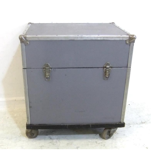 142 - Heavy Plywood Storage Trunk with removable top, leather carrying handles, on castors (A2)...