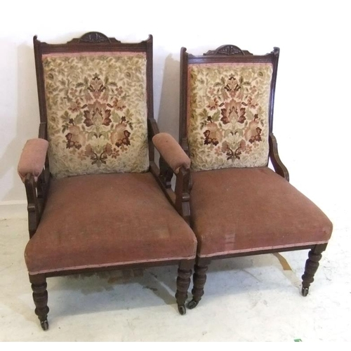 161 - Ladies & Gents Victorian Chairs on turned supports, stuffed panelled backs, brass & ceramic castors ...