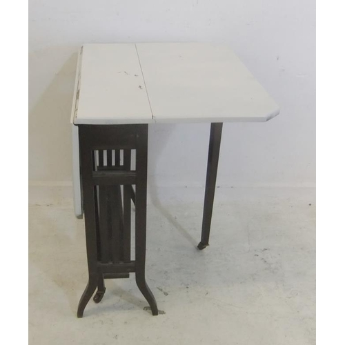 162 - White Painted Edwardian Sutherland Table with rectangular canted corner flaps, on cranked supports, ...
