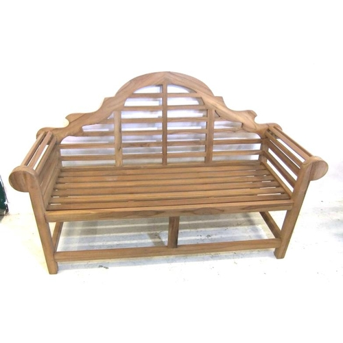 175 - New Lutyens Style Teak 3 Seater Garden Bench with slatted seat, roll-over arms, hump back 1.65m acro...