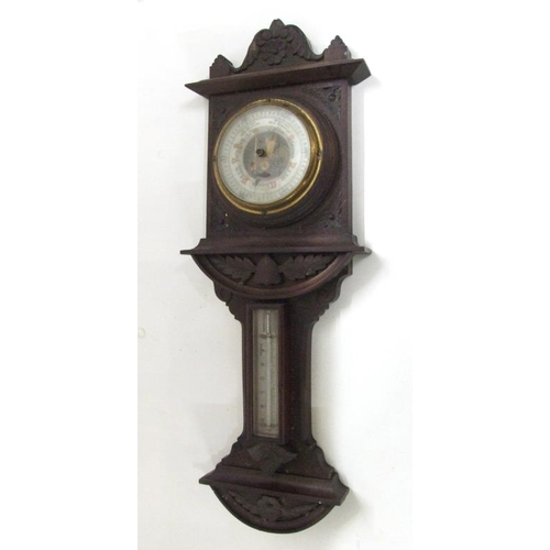 207 - Victorian Mahogany Aneroid Barometer carved with flowers & leaves, enamelled dial, visible movement,...