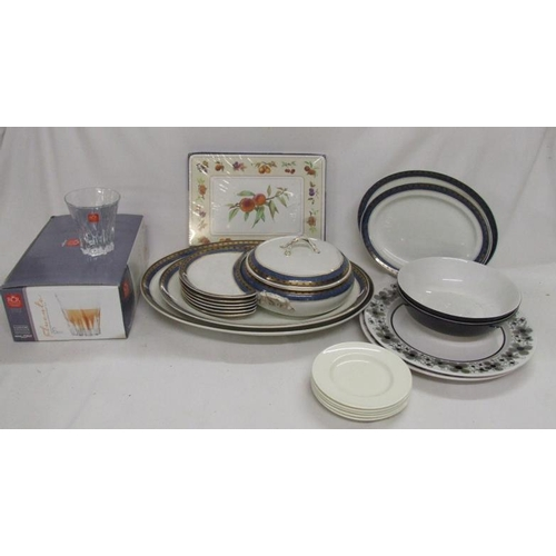987 - Keeling & Co. Lossol Ware for Harrod's incl. 5 oval platters, circular 2 handled entree dish & cover...
