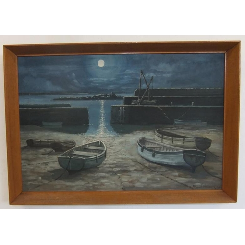401 - Framed Acrylic on Board Boats moored on shore of harbour, signed Morsden Prodhet?, dated '64 (A7)...