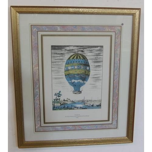 402 - F/g Print 'Ascension' celebrating balloon flight 1784 over Strasbourg (BW)...