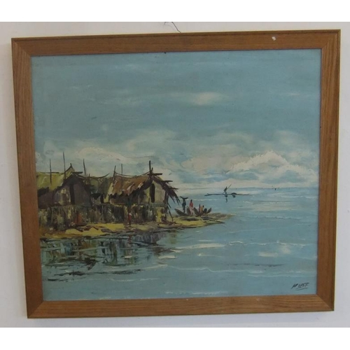 405 - Oil on Board Asian Scene with straw huts, fishermen etc., signed H Jeff (FWR)...