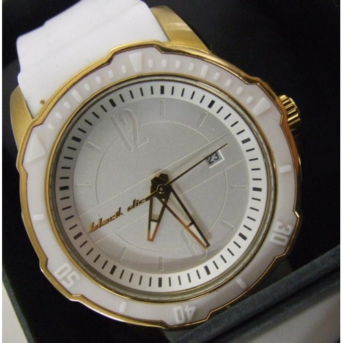 540 - Gents Wristwatches incl. Black Dice with silvered dial, white strap, Adidas digital, Rado with gilt ...
