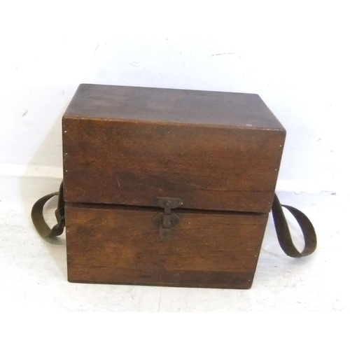 134 - Varnished Plywood Box with canvas carry strap, slope fronted hinged lid (A9)...