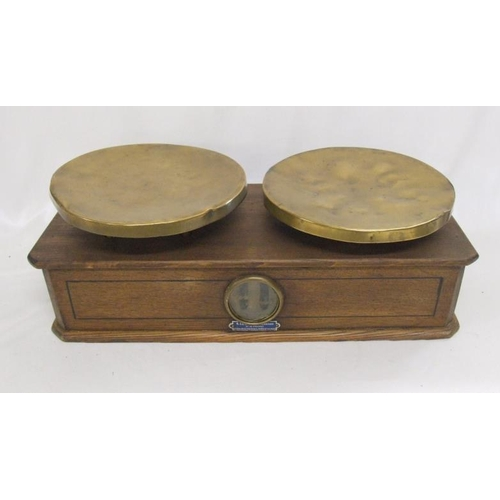 968 - Oak & Brass Balance Scales with central lens...