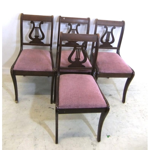 155 - Set 4 Pair Georgian Style Lyre Backed Chairs with drop-on seats (4) (A10/11)...