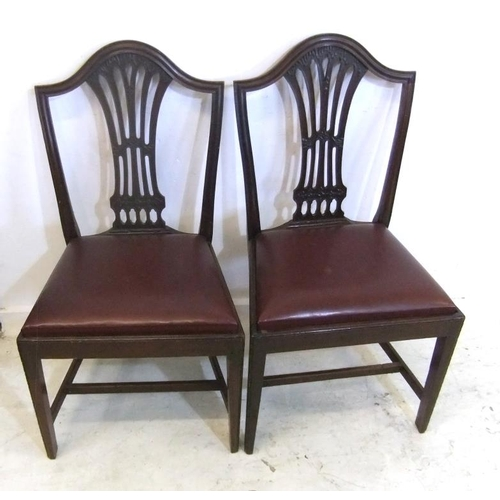 157 - Pair Hepplewhite Style Side Chairs with pierced & carved centre splats, drop-in seats, on square tap...