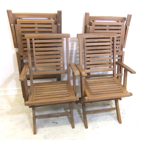 180 - Goldcliffe New Set 4 Teak Folding Chairs & Circular Table, approx. 5' Dia. (A10/11)...