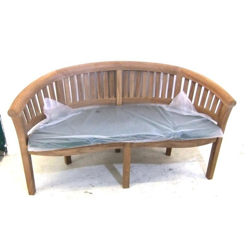 189 - Curved Back Teak Garden Bench with slatted seats & cushion, on square section supports, marked KDA...