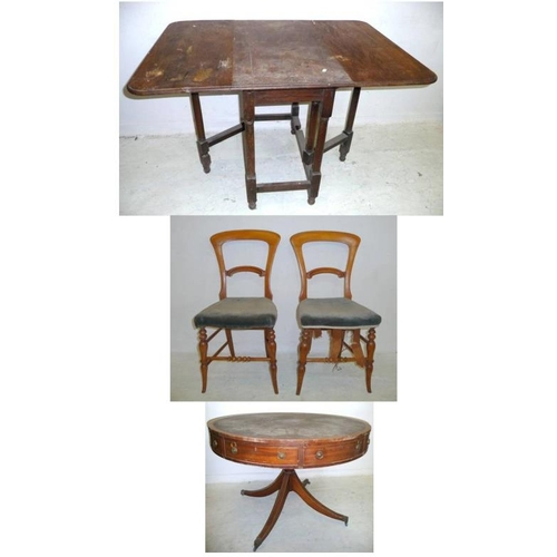 18 - Oak Drop Leaf Table on turned supports, Large Reproduction Mahogany Drum/Rent Table on turned centre...