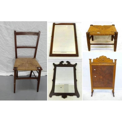 24 - Cane Seated Edwardian Bedroom Chair, Mahogany Framed Chippendale Style Wall Mirror, Walnut Framed Mi...