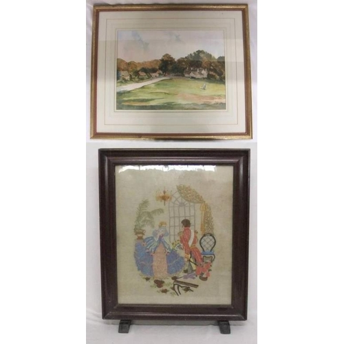 312 - F/g Watercolour Country Lane with houses & figure feeding geese, signed Digby & Mahogany Framed Embr...
