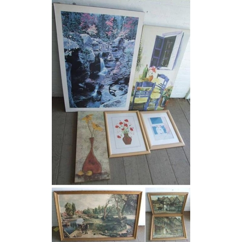 317 - F/g Poppies in vase, signed Peter R Allen, Print Dog with umbrella, Large Peter Lik Print on board, ...