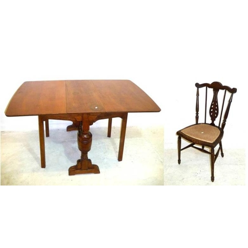 33 - Edwardian Bedroom Chair with D-shaped seat, pierced centre splats, on turned supports & Oak Drop Fla...