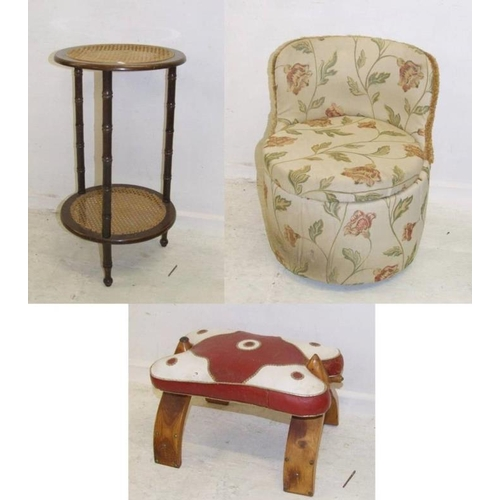 36 - Red/White Leather Camel Stool, 2 Tier Caned Side Table & Small Upholstered Bedroom Chair (3) (A2)...