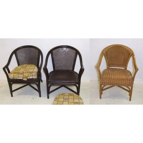 38 - Wicker Armchair & Pair Rattan Armchairs with caned backs & plywood seats (3) (A2)...