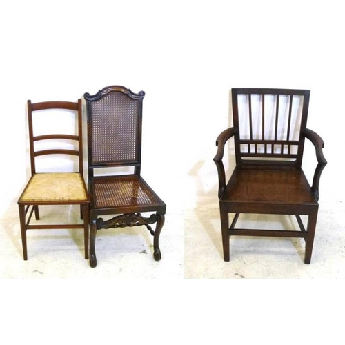 41 - Antique Style Caned Side Chair, Dining Chair with upholstered seat & C19th Wooden Seated Carver Chai...