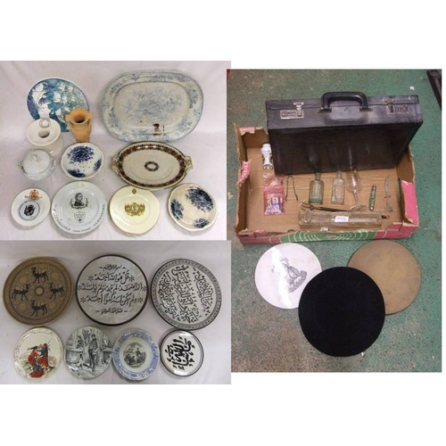 852 - Blue & White Cress Dish, small tureen & cover, platters, Masons stand, Queen Victoria commemorative ...