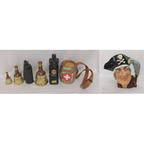 635 - Royal Doulton Large Character Jug 'Long John Silver' D6335, Cossack Vodka Bear Decanter, Bells Whisk...