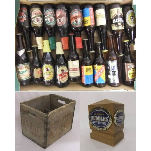 910 - Ruddles Best Bitter Bar Tap Head, R Whites Wooden 12 Bottle Crate, Collectable Beers incl. Tolly Cob...