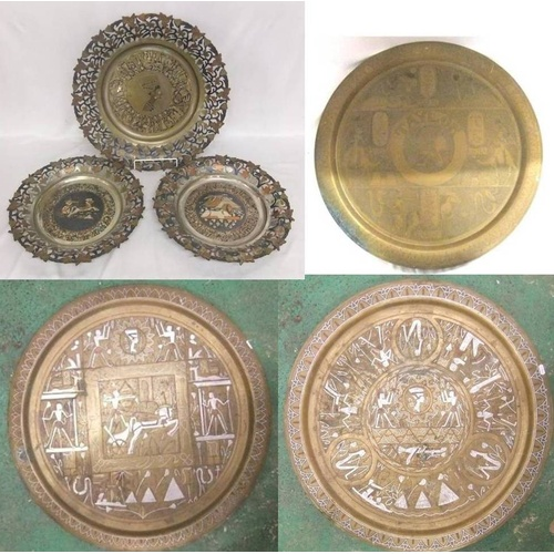 952 - Large Middle Eastern Circular Brass Tray with copper & white metal inlay, decorated with Egyptian fi...