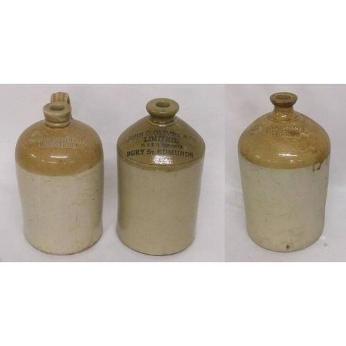 953 - Salt Glazed Flagons: Doulton Lambeth marked C Burrell, G Oliver & Co. Ltd. 10, 11 & 12 Cornhild Bury...