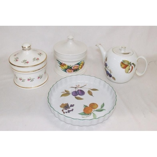 637 - Royal Worcester Evesham Teapot, Flan Dish, Portmeirion Susan Williams Ellis Storage Jar & Unnamed St...