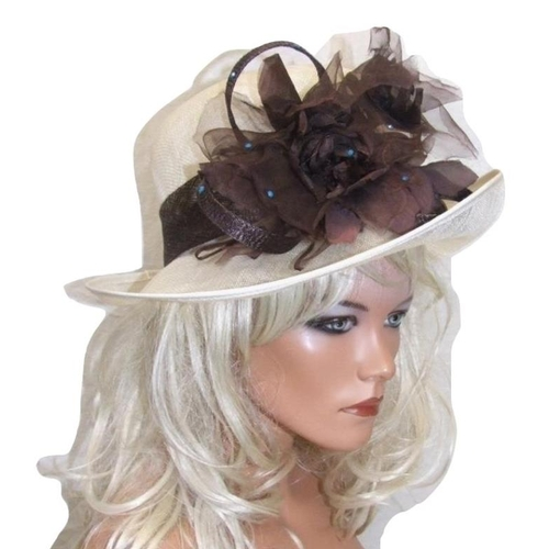 716 - Coco Rose Occasion Hat with brown & turquoise detail, in hat box...