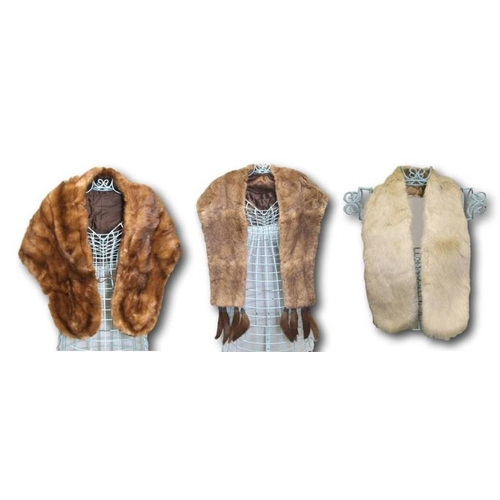 1160 - Vintage Mink Stole, Coney Fur Stole with removable clip-on marten tails & Small Cream Fur Stole (3)...
