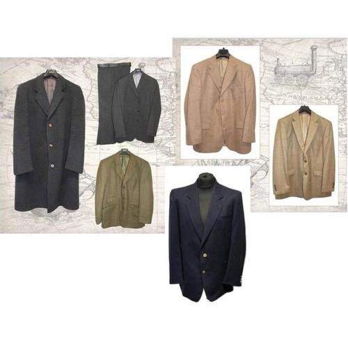 1191 - Mens Brook Taverner Tan Check Wool Jacket, Jaeger Beige Wool Jacket & Mens Yves Saint Lauren Dark Bl...