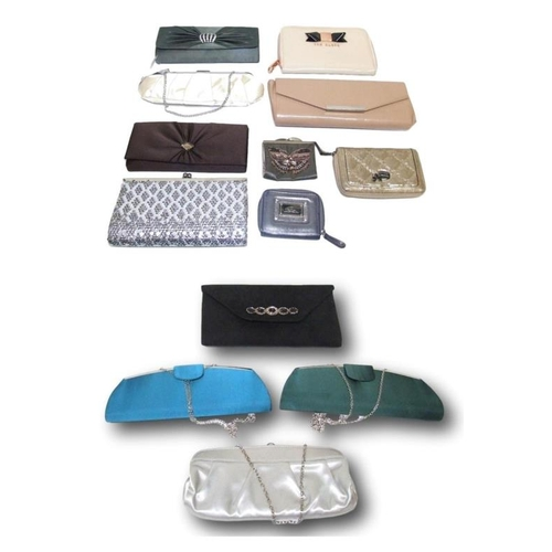 1143 - Evening Bags & Purses: Alex & Co. green & turquoise satin, Debut silver satin & Clarks black suede (...