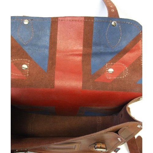 712 - Yoshi Brown Leather Satchel with Union Jack lining...