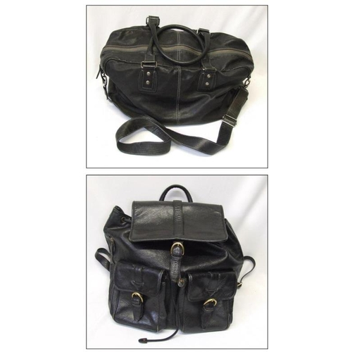 985 - M&S Black Leather Holdall & Hi Design Black Leather Back Pack (1 Box)...