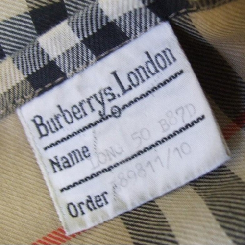 1184 - Mens Burberrys Mac, labelled 'Long 50 B87D...