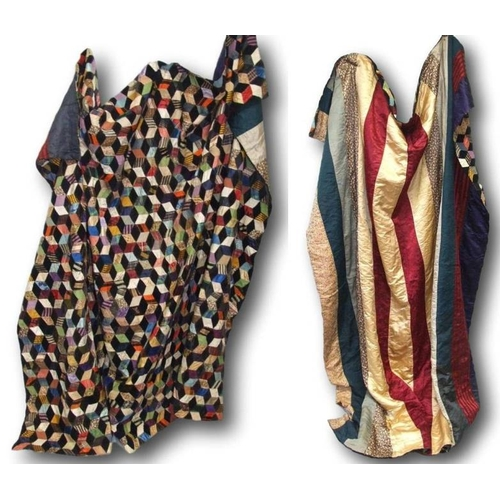 1134 - C19th Double Patchwork Quilt with tumbling blocks pattern & strip patchwork to reverse, circa 1870...