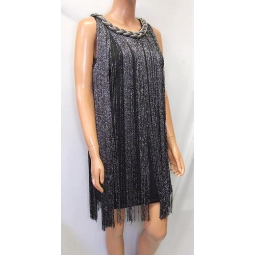 1172 - 3 Ladies Dresses: Principles black lace size 12, Quiz black cocktail dress with silver tassels size ...