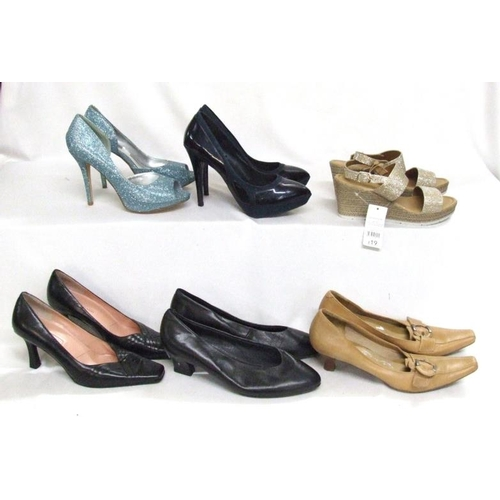 1082 - Ladies Shoes Size 8: Krasceva as new floral, Glamour N Glitz as new blue sparkle, Monsoon cream sati...