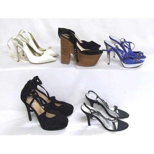 1080 - Ladies Shoes Size 6: New Look yellow suede, Asos denim wedge heel, Sweet Suede cream patent, New Loo...