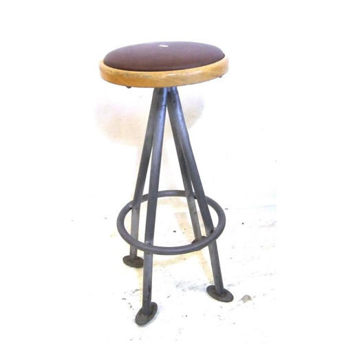 227 - Vinyl Covered Bar Stool on metal supports with foot rest (A4)...