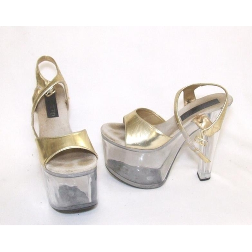 958 - Pair 'Stilletto' Perspex Platform Shoes size 5...