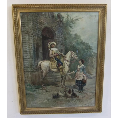 410 - F/g Watercolour 'The Stirrup Cup' by DE Buccianelli, signed, in gilt frame, image size approx. 17 1/...