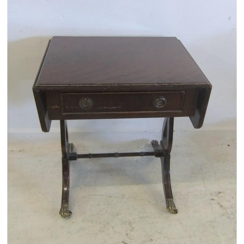 240 - Small Drop Flap Side Table with frieze drawer, on lyre shaped supports, lions paw feet with castors ...