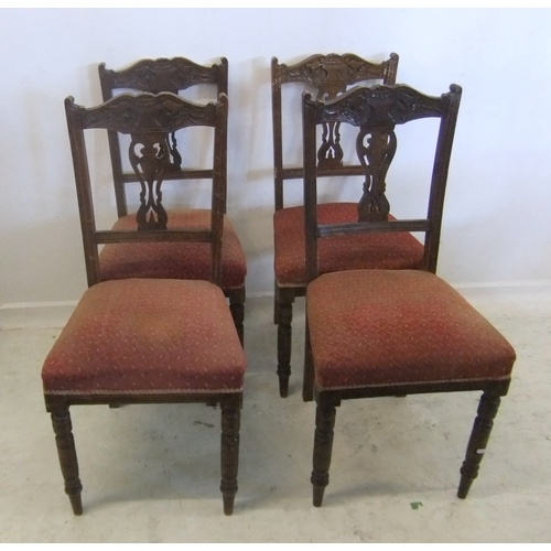 238 - Set 4 Late Victorian Dining Chairs overstuffed seats on turned supports (A4)...